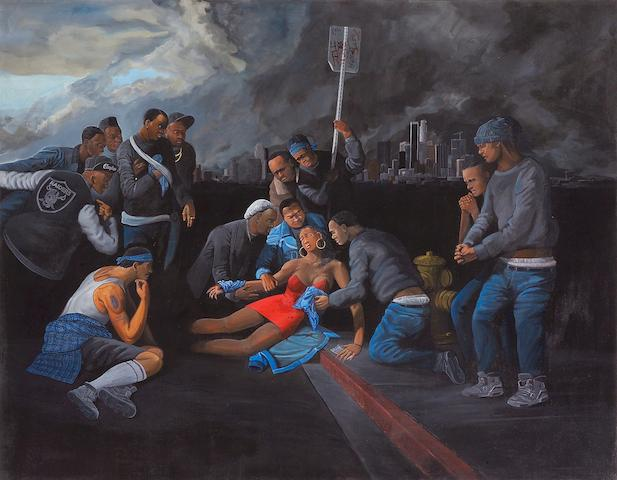 Sandow Birk (American, born 1962) Death in South Central (Crips), 1990 53 x 68in