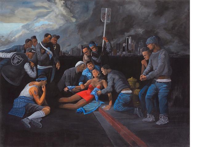 Sandow Birk (American, born 1962) Death in South Central (Crips), 1990 53 x 68in