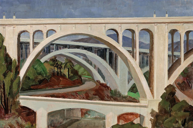 Frode Nielsen Dann (American, 1892-1984) Pasadena Bridge (Colorado Street Bridge), 1961 24 1/4 x 36 1/4in