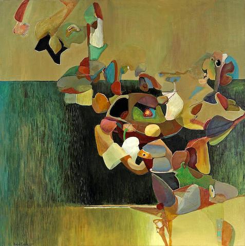 Astrid Preston (Swedish/American, born 1945) Over the Fence, 1973 36 x 36in