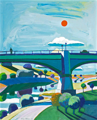 Roland Petersen (American/Danish, born 1926) The Bridge, 1971 36 x 29in