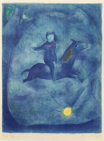 Marc Chagall (Russian/French, 1887-1985); Mounting the Ebony Horse, Pl. 12, from Arabian Nights;