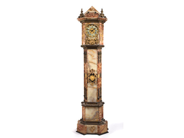 A Napoleon III gilt-bronze-mounted onyx and marble tall case clock circa 1870