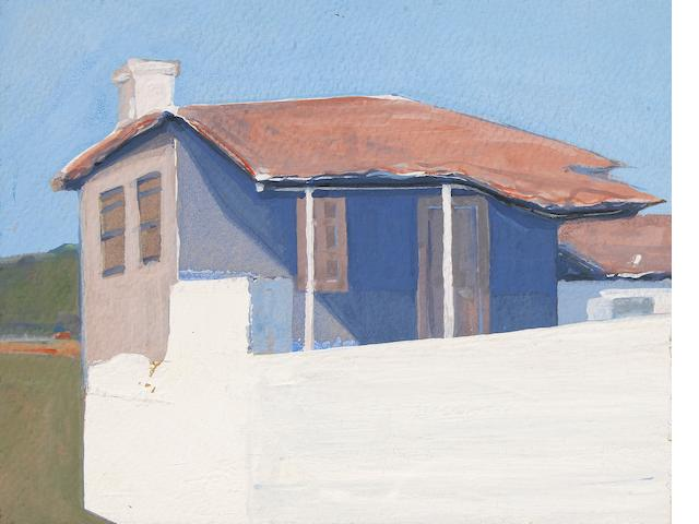 Gregory Kondos (American, born 1923) Greek Home - Greece, 1963 5 x 6in <br>mount 10 1/2 x 9 1/4in