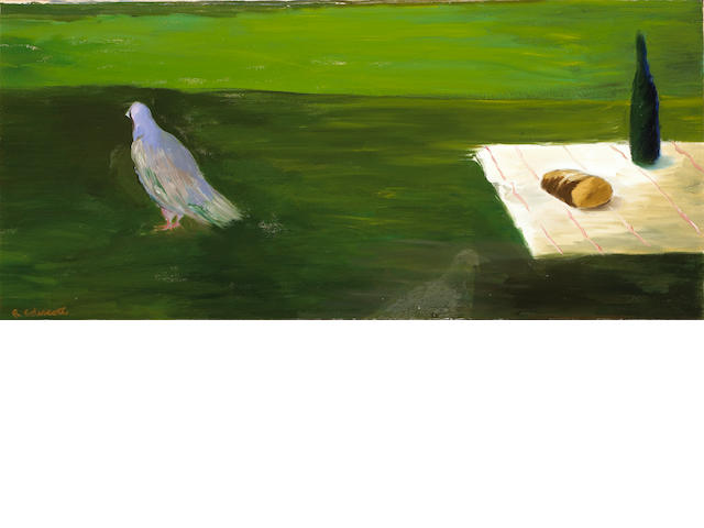 Robert H. Colescott (American, 1925-2009) Still Life with Bird 23 3/4 x 52 1/4in