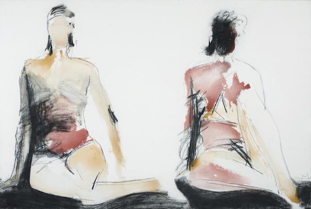Manuel Neri (American, born 1930) Dos Figuras-B/L Series No. 4, 1992 40 x 59 3/4in