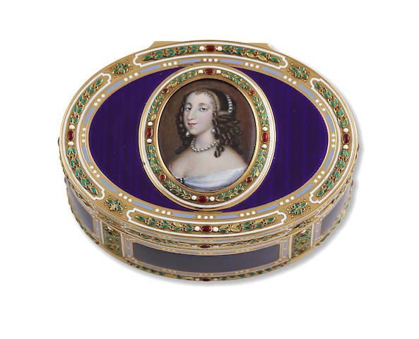 An antique gold and enamel Louis XVI snuff box, French,