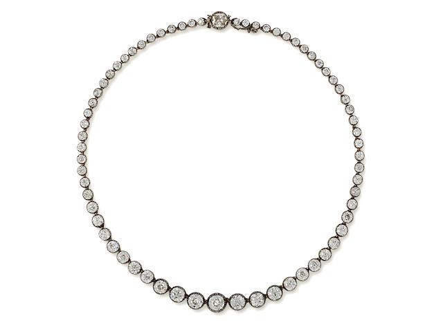 An antique diamond rivière necklace,