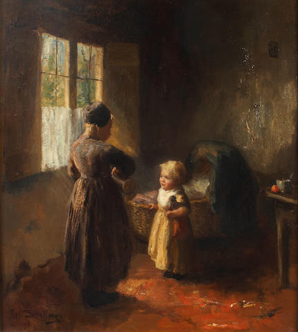 (n/a) Bernard De Hoog (Dutch, 1867-1943) Figures in an interior 19 3/4 x 18in