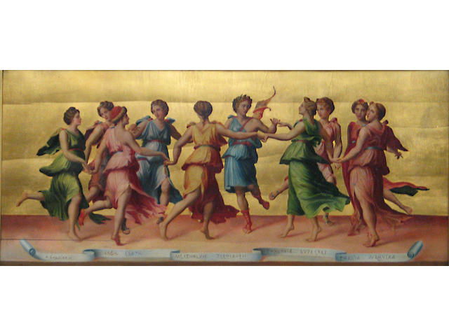 After Baldassare Peruzzi Dance of Apollo with the Muses 14 x 31 1/2in