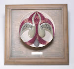 (n/a) Judy Chicago (American, born 1939) The Dinner Party Test Plate (Eleanor of Aquitaine), 1979 diameter 14in  in custom display case 33 x 26 1/2 x 26 1/2in