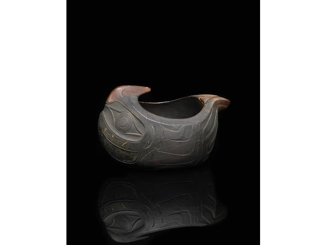 A Northwest Coast eagle effigy bowl