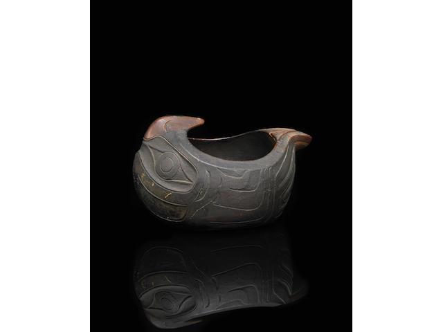 A Haida or Tlingit eagle effigy bowl