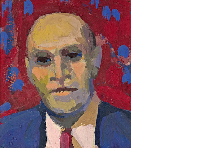 James Weeks (American, 1922-1998) Head-Portrait with Red and Blue Background, 1962 3 1/2 x 3 1/2in