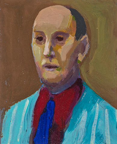 James Weeks (American, 1922-1998) Man with Blue Tie, 1962 5 1/4 x 4 1/4in