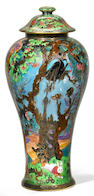 A Wedgwood Fairyland Lustre Demon Tree of the Ghostly Wood covered vase designed by Daisy Makeig-Jones 1915-1931, pattern Z4968