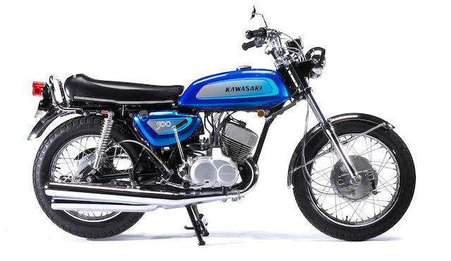Bonhams : 6 miles since restoration,1971 Kawasaki 500cc H1