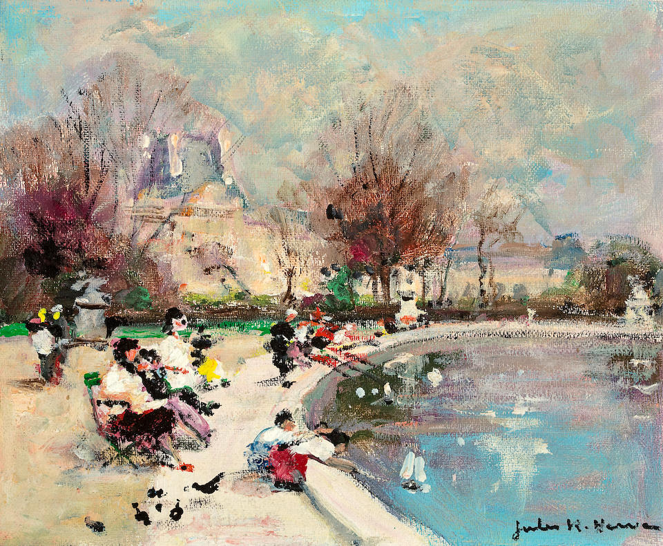(n/a) Jules René  Hervé  (French, 1887-1981) By the pond; Montmartre (2) 9 x 11in (22.8 x 27.9cm) 11 x 9in (27.9 x 22.8cm)
