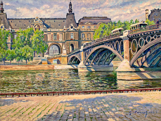 (n/a) Gustave Camille Gaston Cariot (French, 1872-1950) Pont du Carrousel, 1934 18 x 24in (45.7 x 61cm)