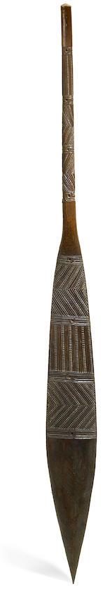 A Maori canoe paddle, 'oe, New Zealand