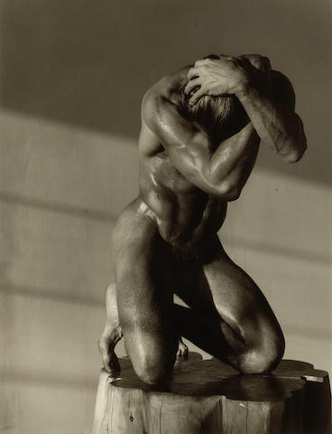 Herb Ritts (American, 1952-2002); Male Nude on Log, Hollywood;