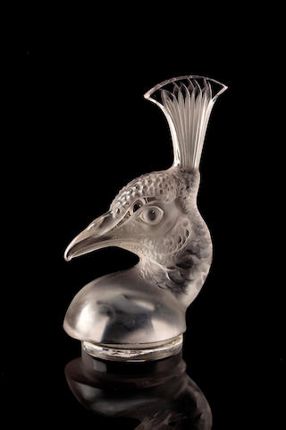 A fine Tete de Paon mascot by Rene Lalique, French 1920-30s
