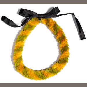 A Royal Ali'l O'O Ouspiral feather lei length 21 1/2in
