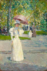 (n/a) Childe Hassam (American, 1859-1935) Woman with a Parasol in a Park 12 x 8in