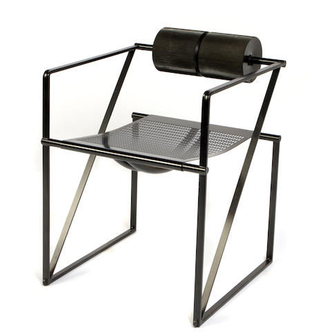 A Mario Botta black lacqured metal and rubber desk chair for Alias, Italy