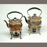 Group of Two English Plated Kettles on Lamp Stands in the Georgian Taste