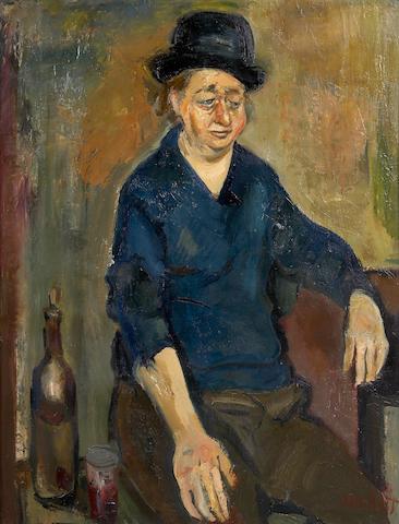 Gabriel Dauchot, Portrait of a woman, oil on burlap