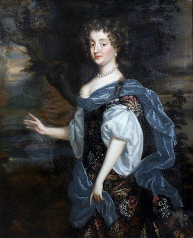 Follower of Sir Peter Lely (British, 1618-1680) A portrait of a noble lady, three-quarter-length 50 x 40in