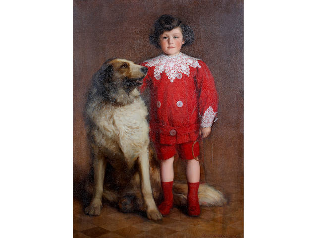 John MacDonald Aiken (British, 1880-1961) A portrait of a young boy and his dog 50 x 36in
