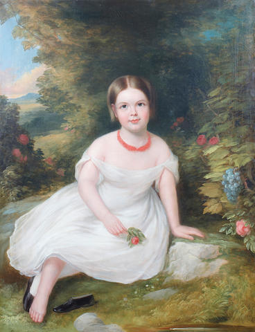 (n/a) American School (19th Century) A portrait of a girl wearing a coral necklace 44 x 33 3/4in