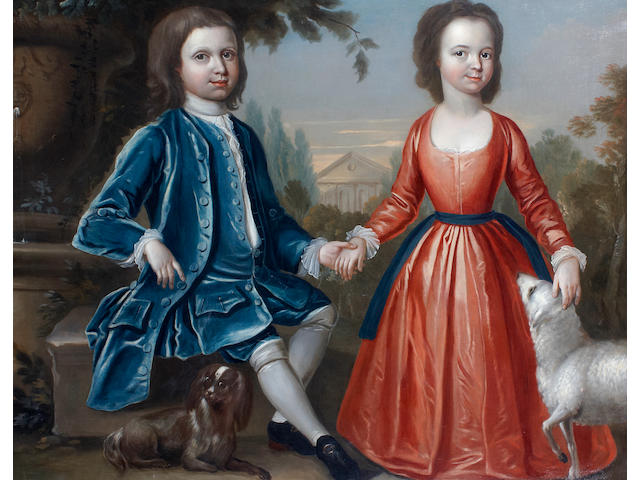 English School A portrait of two children with a pet dog and sheep and a classical building beyond 40 x 50in