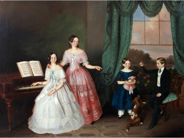 English School, 19th Century A family in their drawing room 28 x 35 1/2in