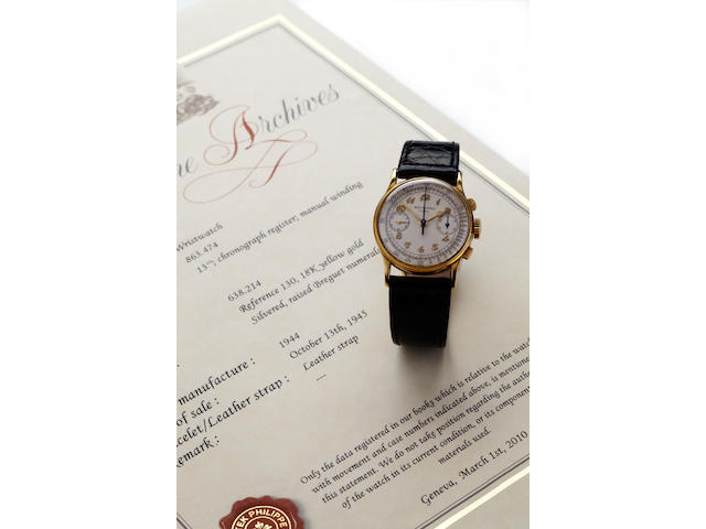 Patek Philippe. A fine 18K gold wrist chronographRef. 130, movement No. 863474, case No. 638214, sold in 1945