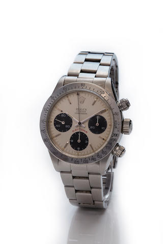 Rolex. A fine steel chronograph bracelet watchCosmograph Daytona, Ref. 6263, Case no. 6294666, 1970's