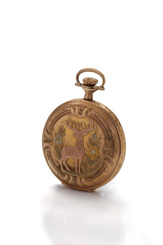 Elgin. A fine 14K  multicolor  gold hunting case watch and a gold filled Hamilton dress watchNo. 18185830, the case by Roy Watch Case Co., New York, circa 1914. (2)