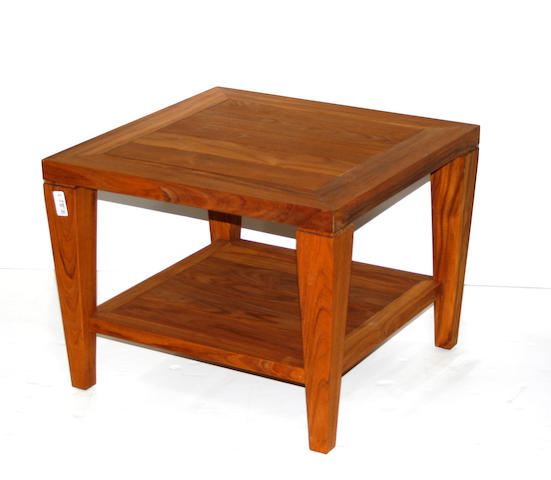 A pair of Contemporary two tiered teak side tables