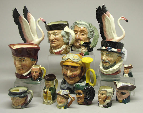 A collection of Royal Doulton character mugs and other ceramics