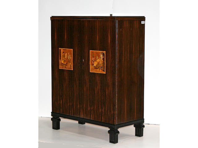 A Swedish  Neoclassical style inlaid rosewood document cabinet