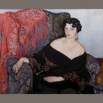 Elena Kiseleva (1878-1974)  Portrait of a woman in a black shawl