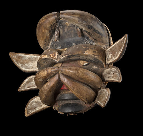 An impressive and large Guere mask, Ivory Coast