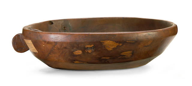 A superb and rare finger bowl washbasin, ipu holoi lima, Hawaiian Islands, with label: John M. Warriner Hawaiian Collection