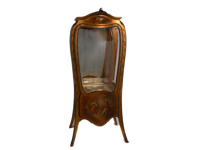 A Louis XV style gilt bronze mounted paint decorated vitrine