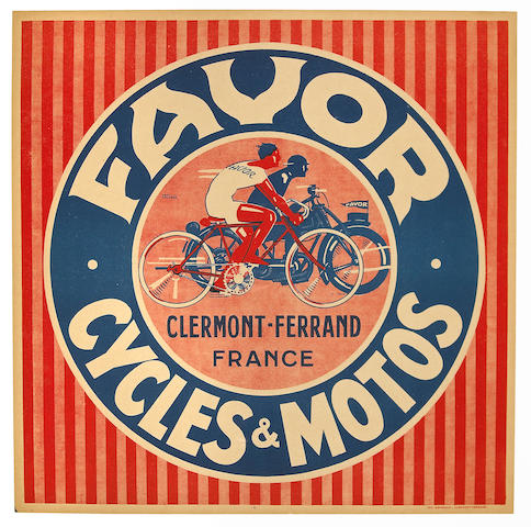A Favor Cyles & Motos advertising poster, French, 1920s,