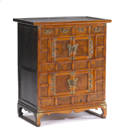 A small Korean burlwood facetted low double drawer chest First half 20th Century