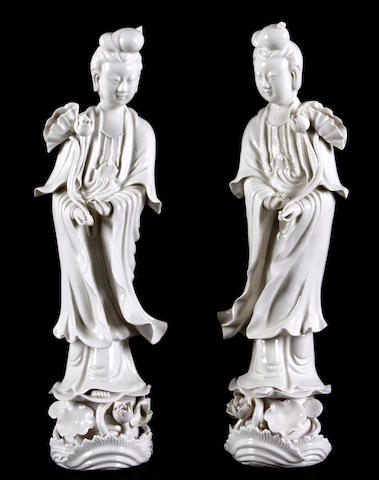 A pair of Chinese porcelain blanc de Chine porcelain figures
