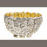 A sterling 'Chrysanthemum' center bowl with vermeil interior